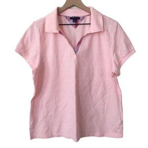 Pullover V Neck Collared Polo Light Pink Top